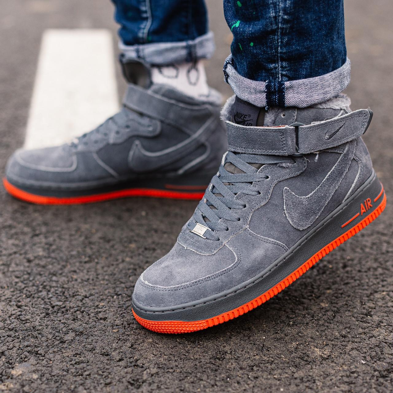 Теплые кроссовки женские Nike Air Force Winter серые-красные (Top replic)