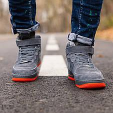 Теплые кроссовки женские Nike Air Force Winter серые-красные (Top replic), фото 2