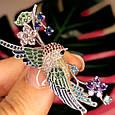 Серебряная брошь Райская Птичка -  Красивая женская серебряная брошь с птицей, фото 3