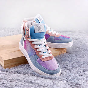 Теплые кроссовки женские Louis Vuitton Boombox Trainer Boots фиолетовые (Top replic), фото 2