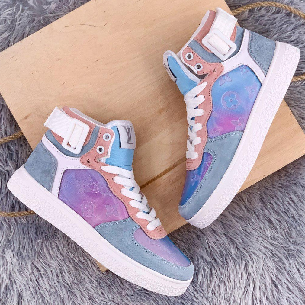 Теплые кроссовки женские Louis Vuitton Boombox Trainer Boots фиолетовые (Top replic)