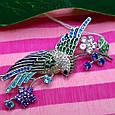 Серебряная брошь Райская Птичка -  Красивая женская серебряная брошь с птицей, фото 5