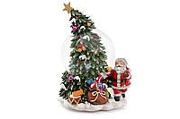 Музиальна куля Санта біля ялинки 21см