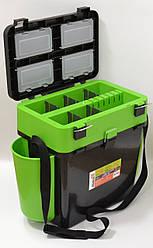 Ящик для рыбалки FISHBOX Helios двухсекционный 19л ХА-1037, зеленый
