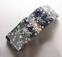 Фольга черная переводная с рисунками для дизайна ногтей (Новый год/Рождество)