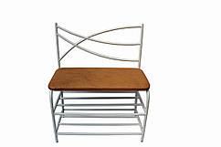Банкетка с полками для обуви 80 см каркас белый сиденье - экокожа