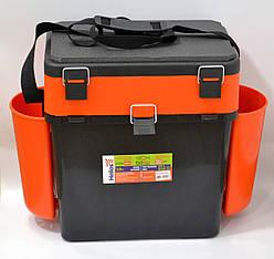 Ящик для рыбалки FISHBOX Helios двухсекционный 19л ХА-1037, оранжевый
