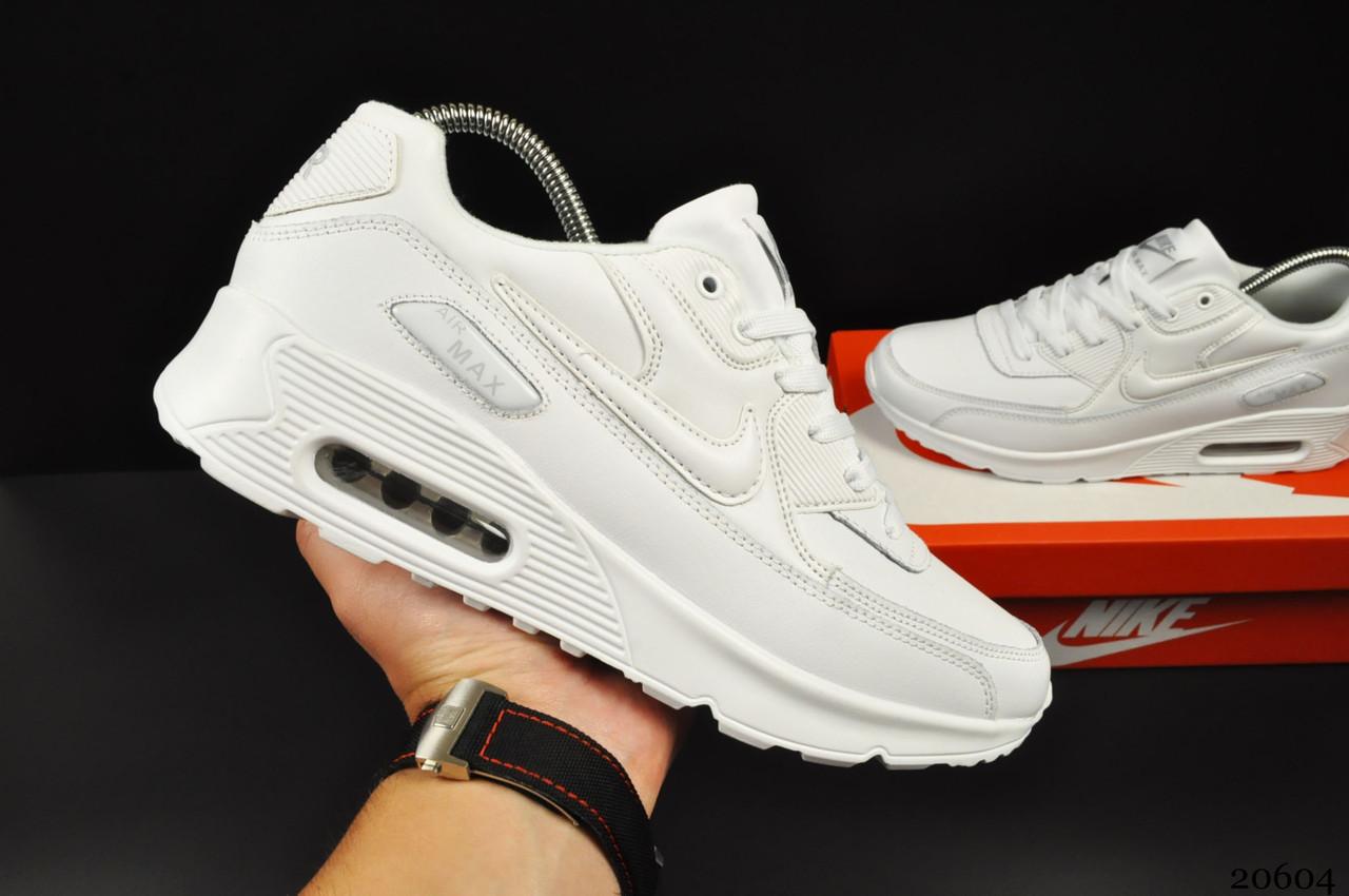 Кроссовки Nike Air Max 90 арт 20604 (мужские, белые, найк)