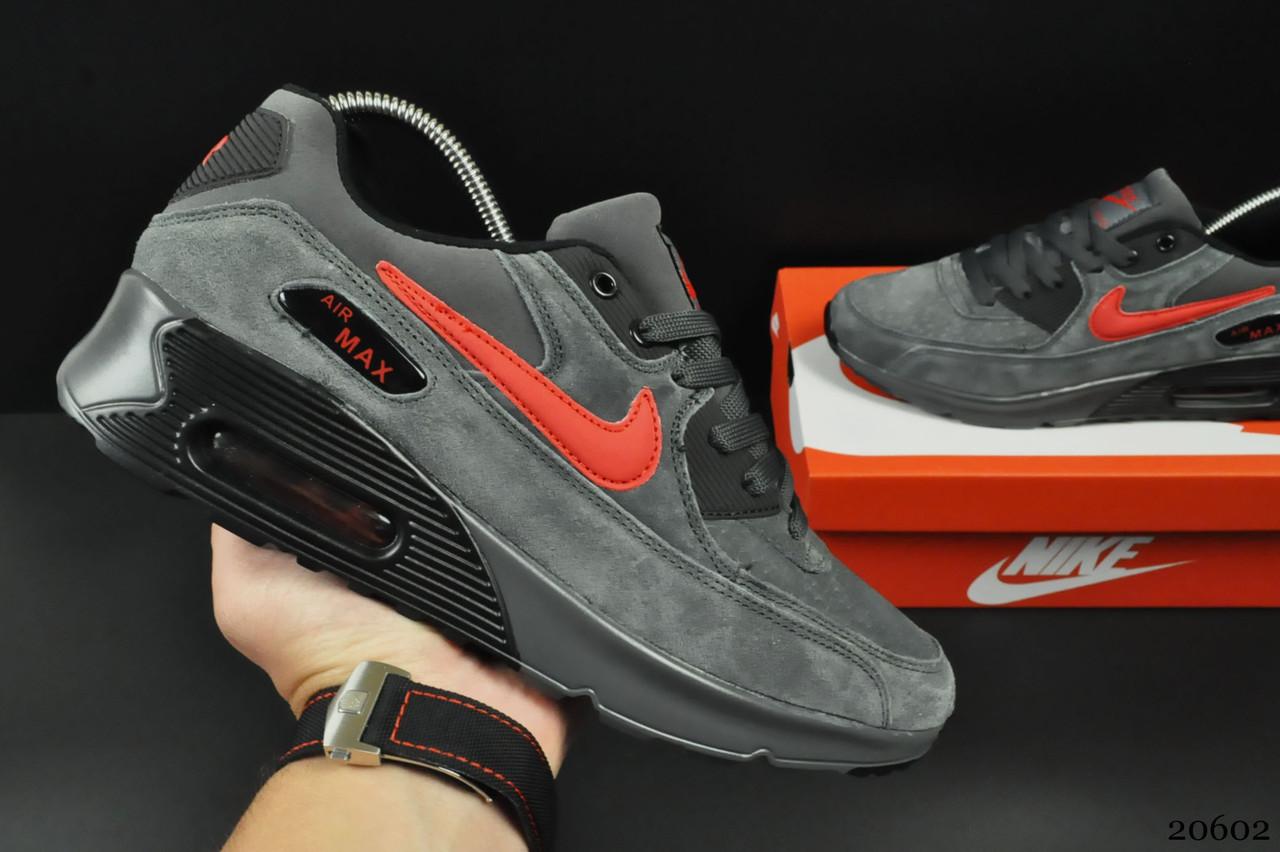 Кроссовки Nike Air Max 90 арт 20602 (мужские, серые, найк)