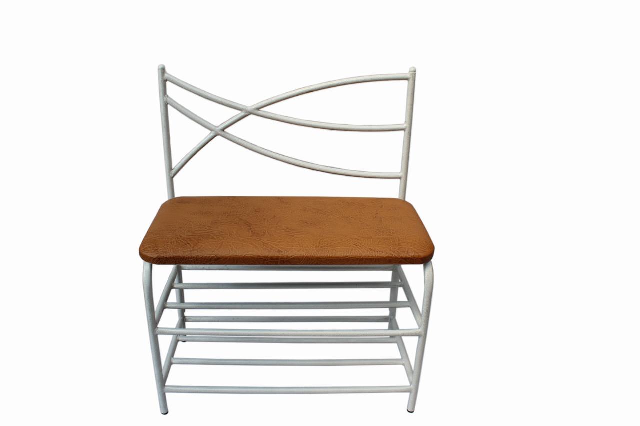 Банкетка со спинкой белый каркас сиденье экокожа 60 см