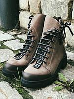 Ботинки Полусапоги зимние из натуральной кожи.Бежевые 39