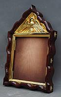 Киот фигурный с золоченным резным голлубем и рамой, фото 6