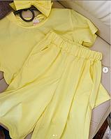 Детский трикотажный костюм тройка футболка бриджи и повязка на голову
