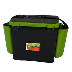 Ящик для рыбалки FISHBOX Helios односекционный 19л ХА-1035, зеленый