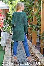 Теплая туника с разрезом прямого кроя темно-зеленый, фото 2