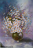 Живопись маслом. Цветы картины  «Ромашки»