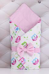 Конверт для выписки из роддома из хлопка 80*80 с совами розового цвета