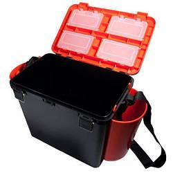 Ящик для рыбалки FISHBOX Helios односекционный 19л ХА-1035, оранжевый