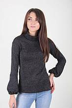 Женский черный свитер с рукавом фонариком