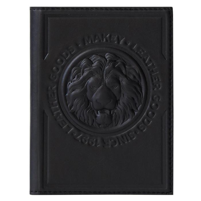 """Обложка на паспорт из натуральной кожи с авторским тиснением льва """"Royal"""" (Makey). Цвет черный"""