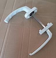 Ручка белая алюминиевая с одной узкой стороной для балконных дверей (окон) ПВХ  (ассиметричный гарнитур)