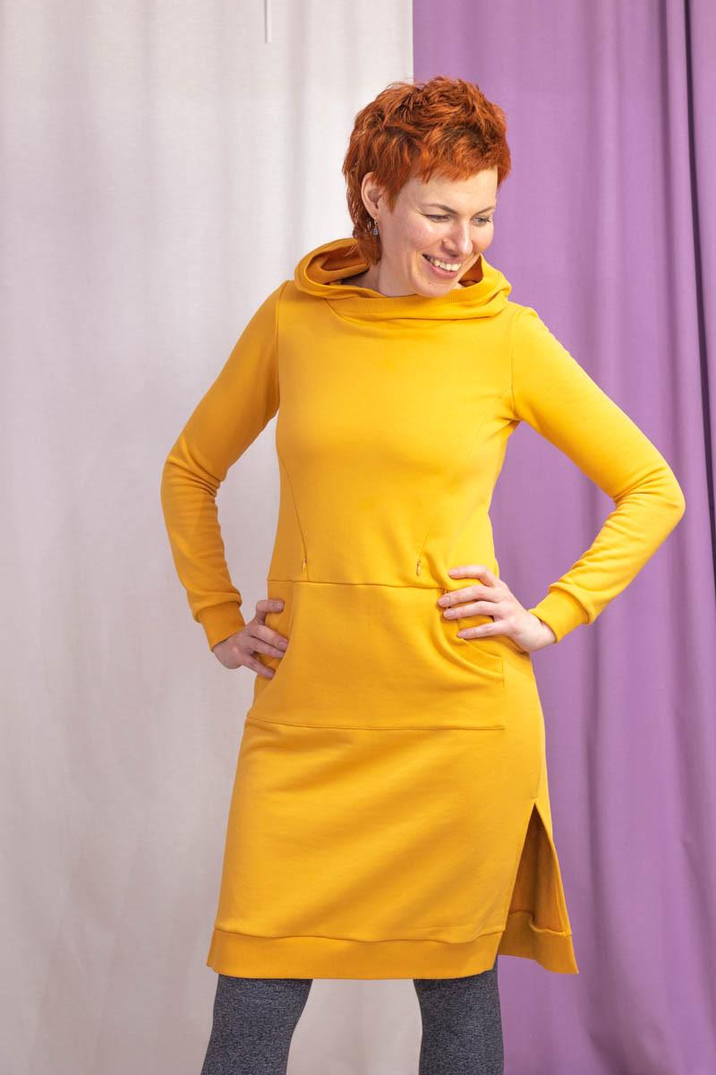 Платье-свитшот с капюшоном для беременных и кормящих мам HIGH HEELS MOM (жёлтый, размер S)