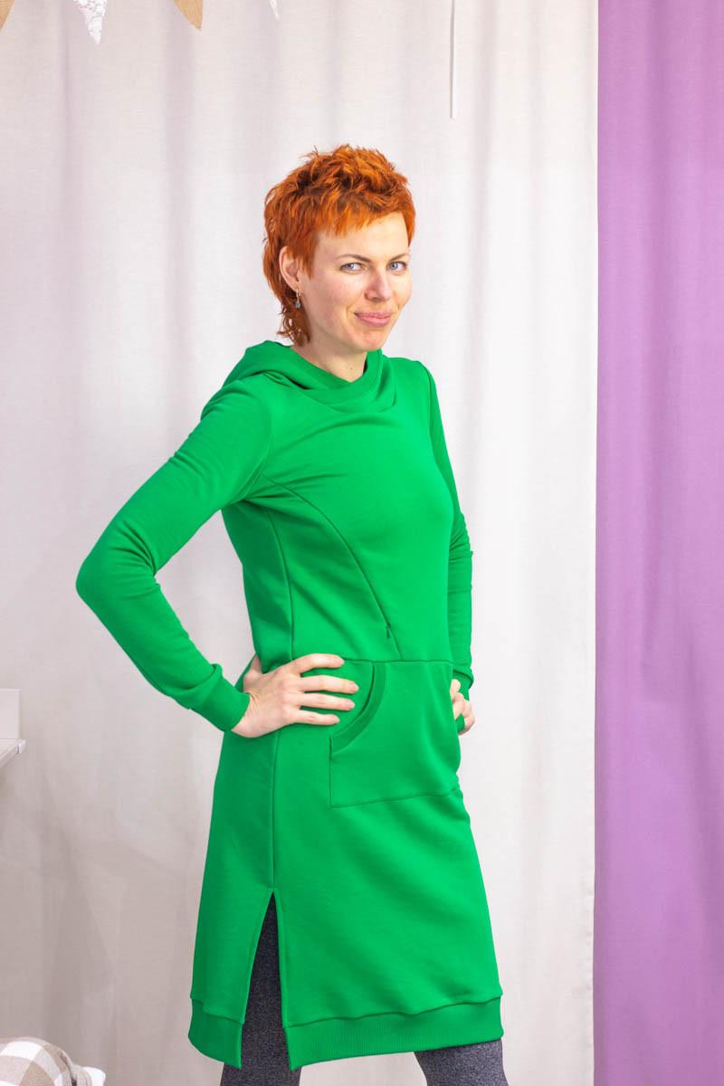 Платье-свитшот с капюшоном для беременных и кормящих мам HIGH HEELS MOM (зелёный, размер S)