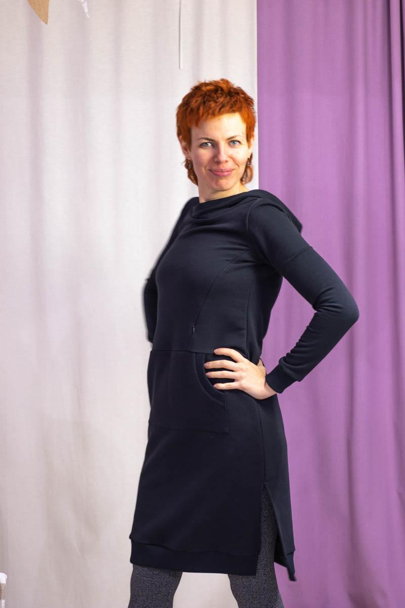 Платье-свитшот с капюшоном для беременных и кормящих мам HIGH HEELS MOM (серый, размер S)