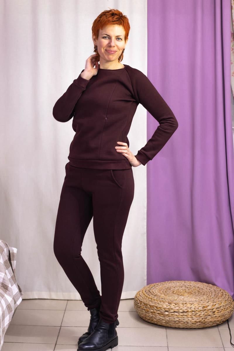 Тёплый костюм для беременных и кормящих мам HIGH HEELS MOM (коричневый, размер S)