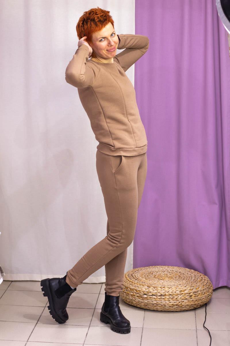 Тёплый костюм для беременных и кормящих мам HIGH HEELS MOM (светло-коричневый, размер S)