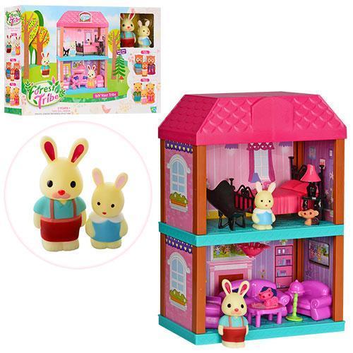 Домик детский 2 этажа мебель, фигурки