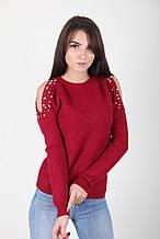 Бордовый вязаный свитер с бусинами