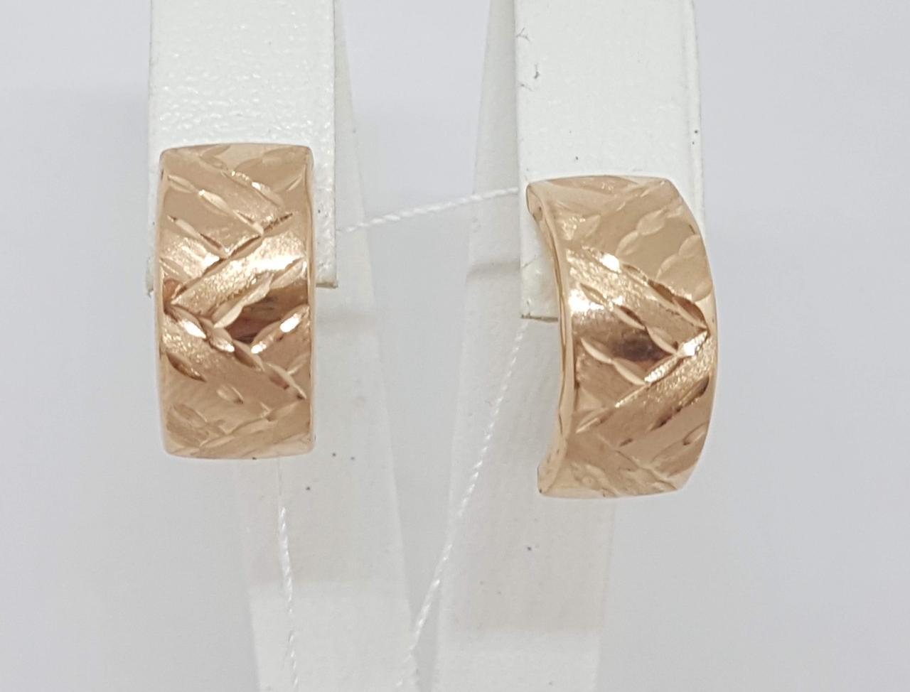 Золотые серьги с алмазной гранью. Артикул 130706-2
