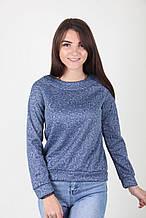 Женский свитер в синем цвете с абстрактным узором