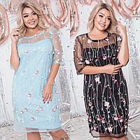 Платье женское вечернее, нарядное, стильное, большого размера,свободное, ровное, оригинальная вышивка на сетке, фото 1