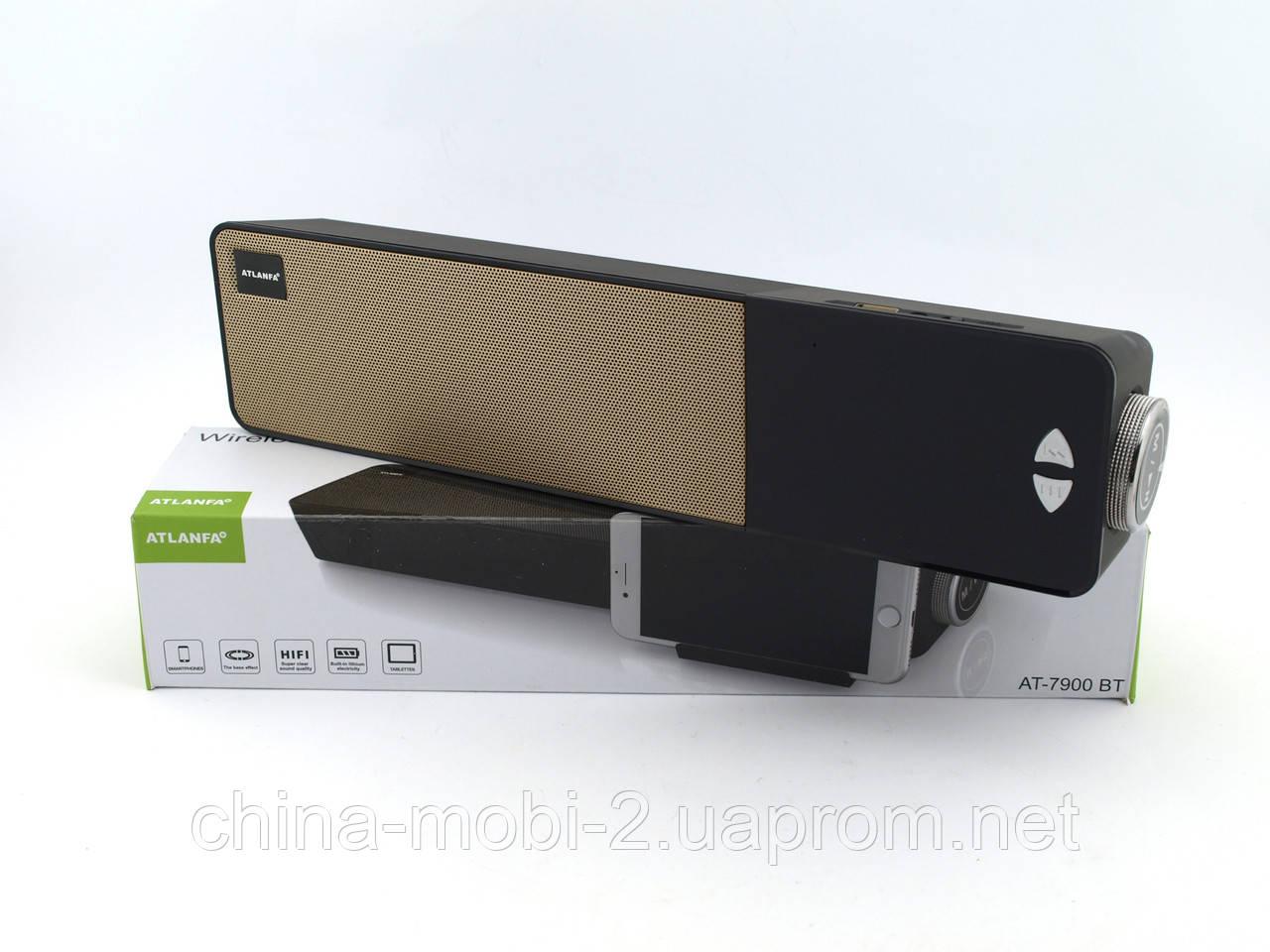 Atlanfa AT7900 Bluetooth колонка з годинником soundbar 5W, FM і MP3, чорна з золотом