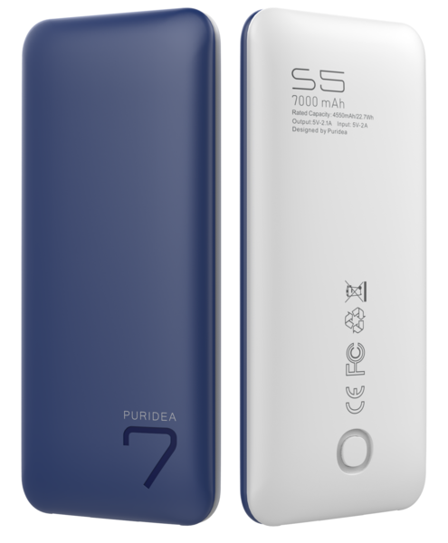 Портативное зарядное устройство (Powerbank) PURIDEA S5 7000mAh LI-POL сине-белое