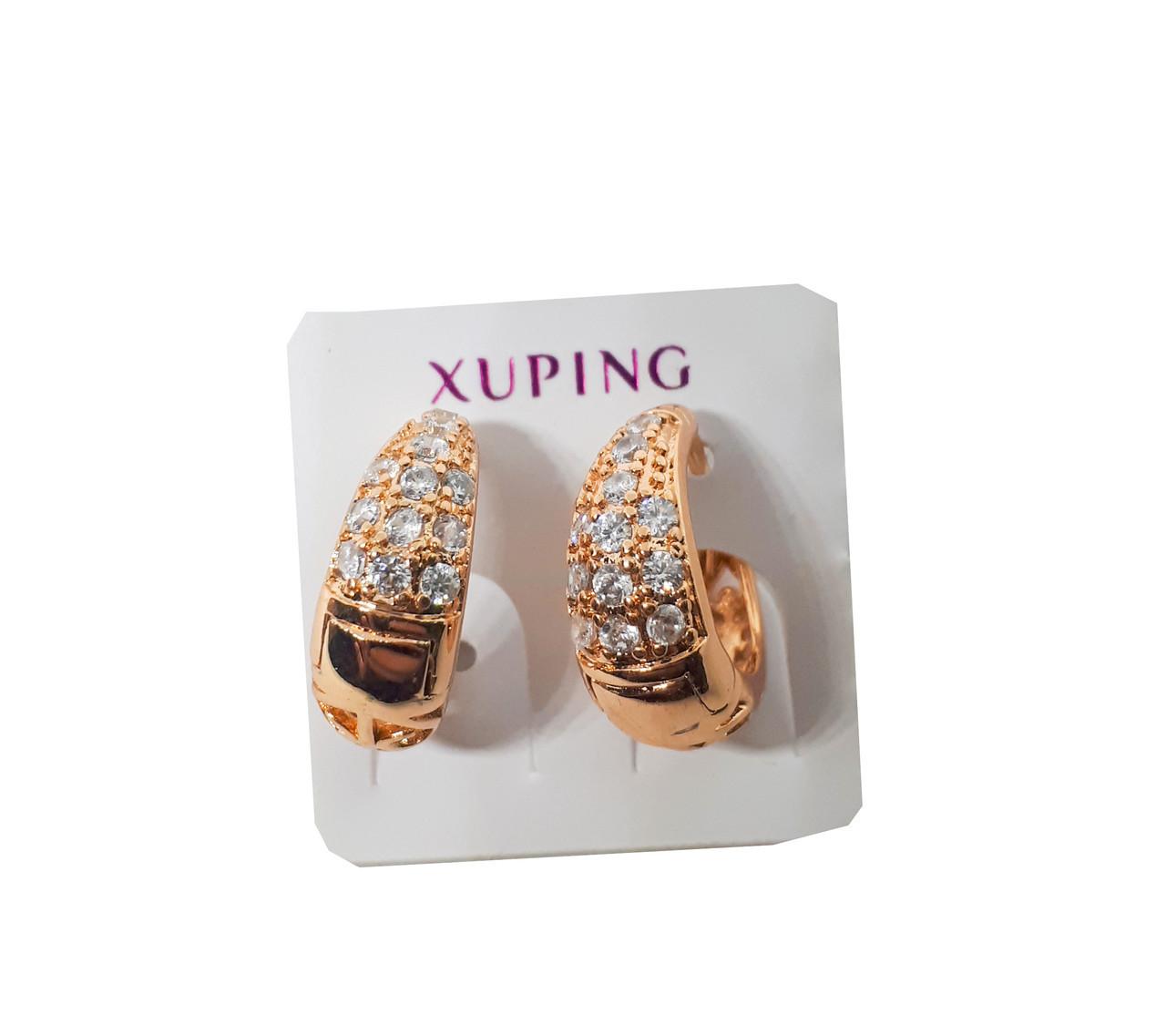 """Серьги Xuping Позолота 18К колечки """"Морозная капля""""опт"""