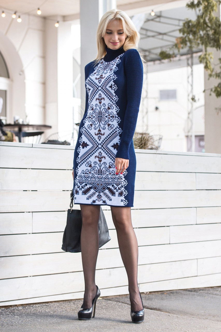 Красивое трикотажное платье-гольф 44-48 (в расцветках)