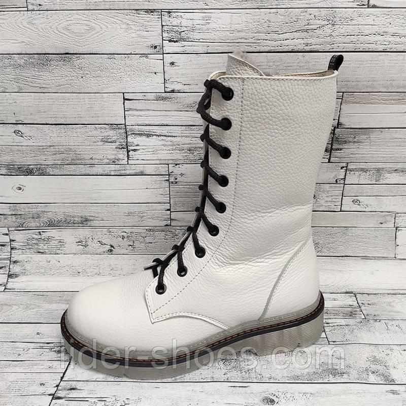 Кожаные женские ботинки белого цвета