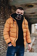 Куртка зимняя мужская Moncler оранжевая (реплика)