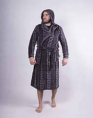 """Махровый халат мужской """"Египт"""" 1549 48-56р с капюшоном ТОМ-380004"""