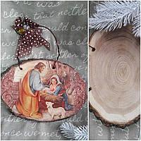 Вертеп на спиле дерева, декупаж, 16х23 см., 225/195 (цена за 1 шт. + 30 гр.)