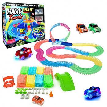 Гоночная трасса MAGIC TRACKS Светящийся трек Мэджик Трек 360 деталей с двумя гоночными машинками, мостом,трасс