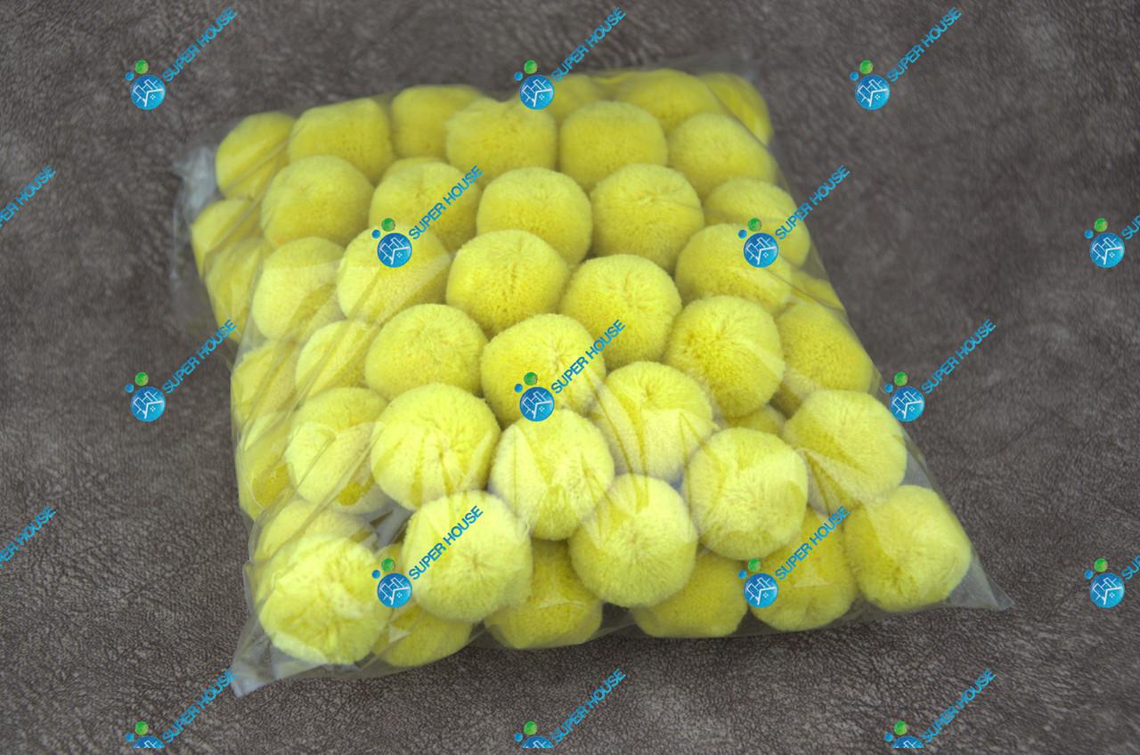 Помпони, м'які кульки, бубончики 30мм/жовтий 100шт.