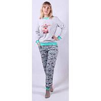 Теплая пижама с начесом и накатом Олень 42-56 р цвет серый