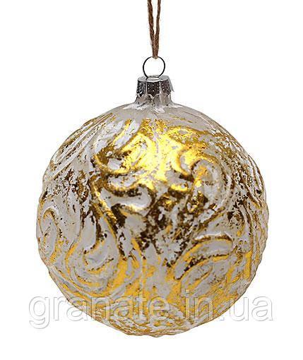 Елочный шар 10см, цвет - золото, набор шаров - 4 штук
