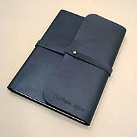 Софтбук А6. Блокнот в кожаной обложке ручной работы с лазерной гравировкой надписи (цитата, пожелание).