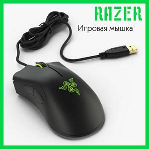 Мышь проводная геймерская Razer DeathAdder  Essential Цвет Чёрно-Зелёный + Подарок коврик Razer