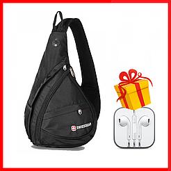 Городской рюкзак SwissGear Sling NEW (Слинг) сумка через плечо + наушники Apple в ПОДАРОК